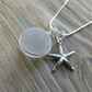 Natural sea glass bubble pendant with starfish