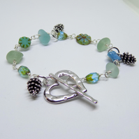 Sea glass nugget and czech bead wire wrapped bracelet