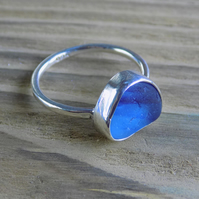 Sterling silver sea glass ring, size J and a half