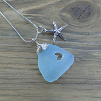 Natural sea glass heart wire wrapped pendant ,with Scilly Isles sea glass