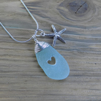 Natural sea glass heart wire wrapped pendant, sea glass from the Scilly Isles