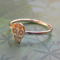 Sterling silver sugar skull skinny ring size UK N