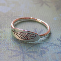 Sterling silver feather skinny ring - various sizes