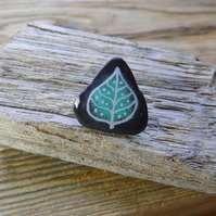 Slate leaf mini brooch ,lapel pin