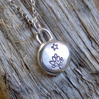 Sterling silver stamped tree and star  pendant (small)