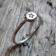 Sterling silver stamped 'star' skinny ring UK L
