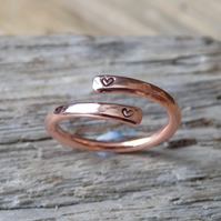 Copper wrap around, adjustable 'sweetheart' ring