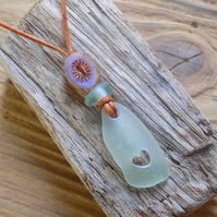 Genuine sea glass heart pendant