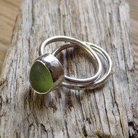 Sterling silver and sea glass ring set, stacking rings Size UK N
