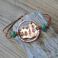 Rustic style aged copper 'starry night ' leather bracelet