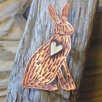 Copper and silver brown hare mixed metal brooch  (made to order)