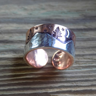 Copper and silver mixed metal alpine forest ring Made to Order