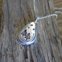 Sterling silver 'nugget' alpine forest pendant