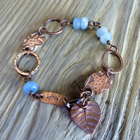 Aged copper 'starfish' hoops and agate bead adjustable bracelet
