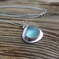 sterling silver bezel set sea glass pendant