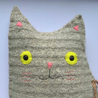 Cat Cushion: Handmade from recycled woolen jumpers (Mr Samuel Whiskers)