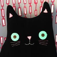 Cat Cushion: Velvet Handmade Wool Cushion (Mr Joseph Whiskers)