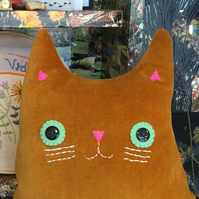 Cat Cushion: handmade  (Mr Ramsey Whiskers)