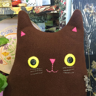 Cat Cushion: Handmade from recycled woolen jumpers (Mr Roland Whiskers)