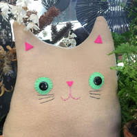 Cat Cushion: Handmade beige fleece (Mr Woody Whiskers)