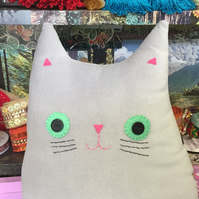 Cat Cushion: Handmade  Cushion (Mr Hercules Whiskers)