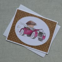 Toot Toot - Boy in Vintage Red Car - Blank Card