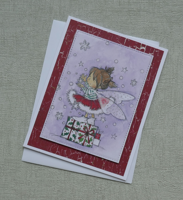 Fairy on Gift with Snowflakes - Cute Christmas Card