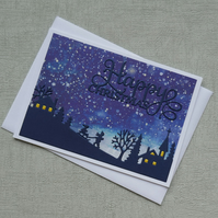 Snowy Sledging Scene - Stormy Winter Sky - Cute Christmas Card