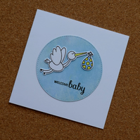 Welcome Baby - Stork and Baby Bundle - Baby Boy Card