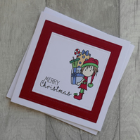 Cute Elf Carrying Presents - Merry Christmas  - Christmas Card