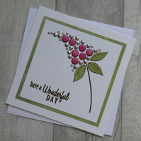 Have a Wonderful Day - Pink and Silver Flower - Birthday Card