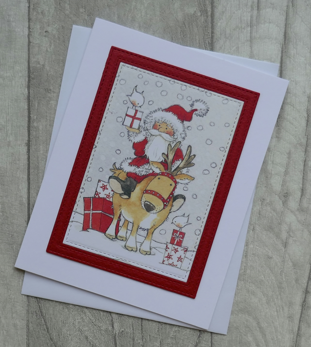 Father Christmas and Reindeer with Presents - Christmas Card
