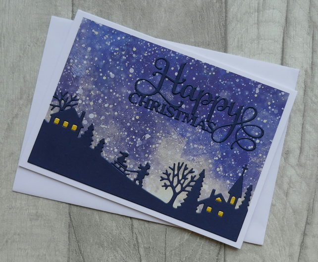 Snowy Sledging Scene - Stormy Winter Sky - Christmas Card