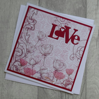 Red Floral Patterned Paper - Love Hearts - Anniversary or Love Card
