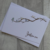 Silver Holographic Birds on Branch - Just for You - Greetings Card