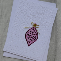 Cerise and Pink Opulent Bauble on Embossed Background - Christmas Card