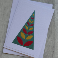 Modern Green, Red and Gold Christmas Tree - Christmas Card