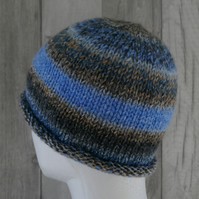 Knitted Stocking Stitch Pull On Beanie Hat - Blue, Caramel, Grey