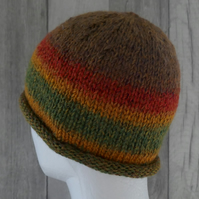 Knitted Stocking Stitch Pull On Beanie Hat - Russet, Green & Gold