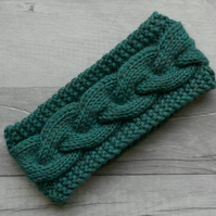 Sea Green Cable Head Band with Merino Wool