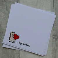 Hedgehog with Heart - Hugs and Kisses - Anniversary or Love Card