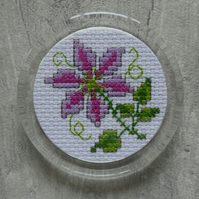 Cross Stitch Clematis Fridge Magnet in Round Acrylic Frame