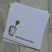 Hedgehog with Green Balloon - Happy Birthday To You - Birthday Card