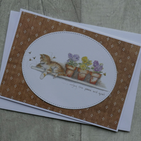 Cat, Bees & Flower Pots - Enjoy the Peace and Quiet - Blank Card