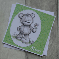 James Bear with Daisy - Mum - Birthday or Mother's Day Card