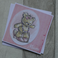 Jenny Bear with in Shoes - Mum - Birthday or Mother's Day Card