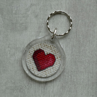 Red Cross Stitch Heart - Round Key Ring