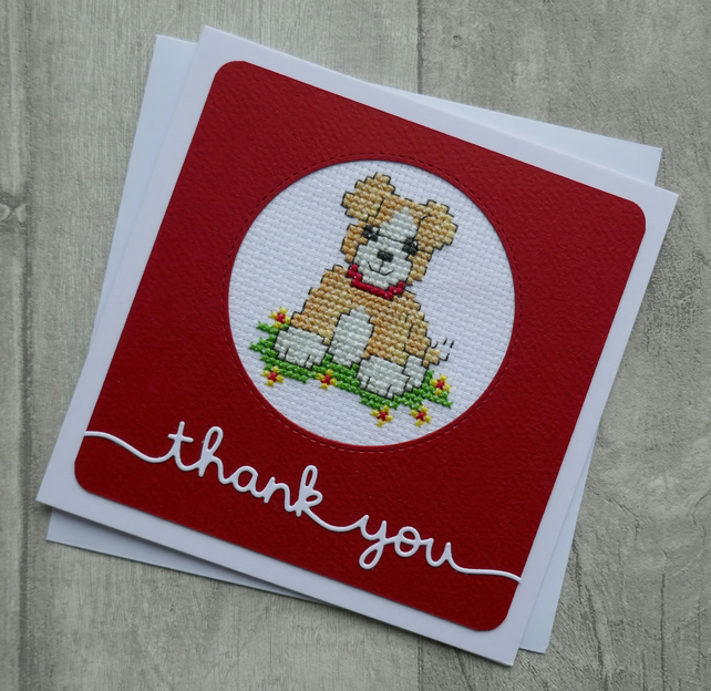 Cross Stitch Dog with Red Collar - Thank You - Greetings Card