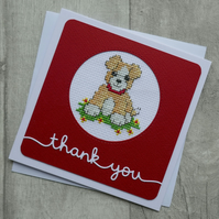 Cross Stitch Dog with Red Collar - Thank You - Card
