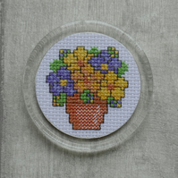 Cross Stitch Pot of Lilac & Yellow Flowers Fridge Magnet in Round Acrylic Frame